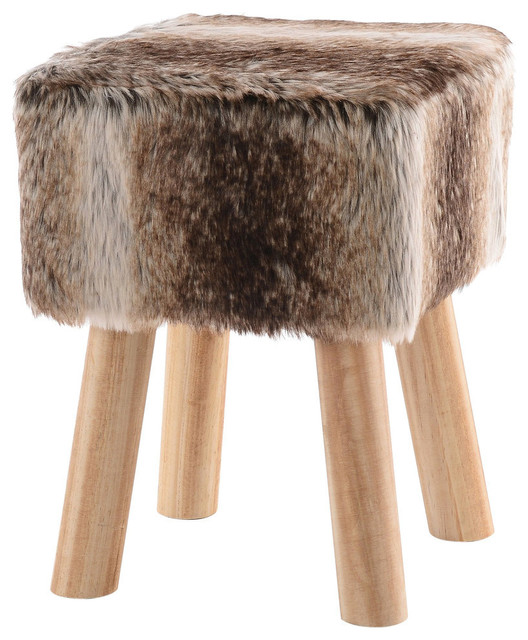 Faux Fur Wood Leg Stool Brown Square And Round