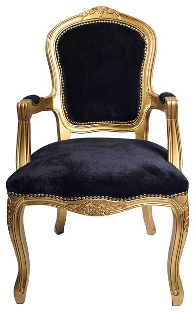 Gold French Louis Armchair Black Velvet Traditional