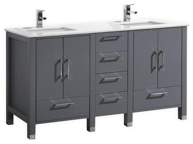 Vanity Side Splash : Anziano double sink vanity with quartz countertop matte