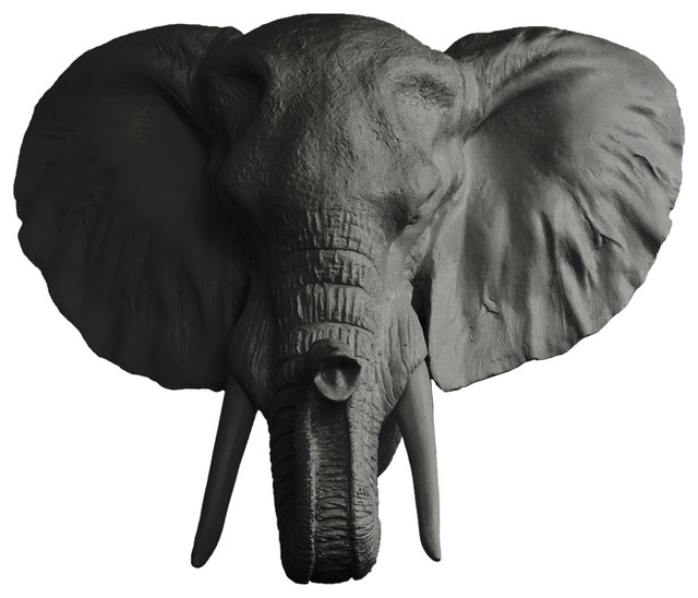 Faux Mounted Elephant Head Tropical Wall Sculptures By Wall