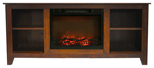 Santa Monica 63 Electric Fireplace and Entertainment Stand, Walnut