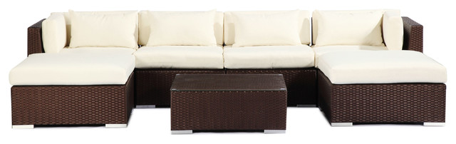 Napali 7 Piece Outdoor Sofa Sectional Set, Seat: Ivory, Wicker: Espresso