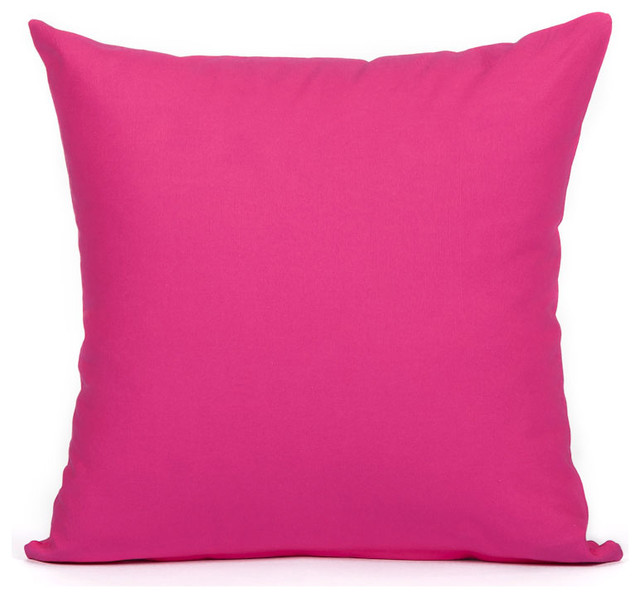 Silver Fern Decor Solid Hot Pink Accent Throw Pillow