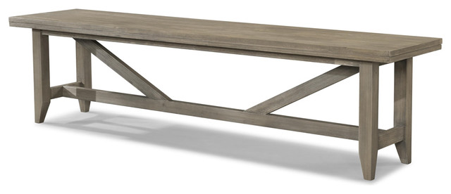 Cresent Fine Furniture Corliss Landing Bench, Weathered Driftwood Gray 5659