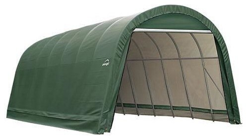 14x24x12 Round Style Shelter With Green Cover.