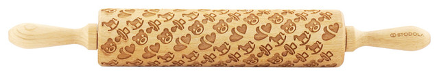 "Baby Pattern, Engraved Rolling Pin For Embossed Cookies, 16.9""."