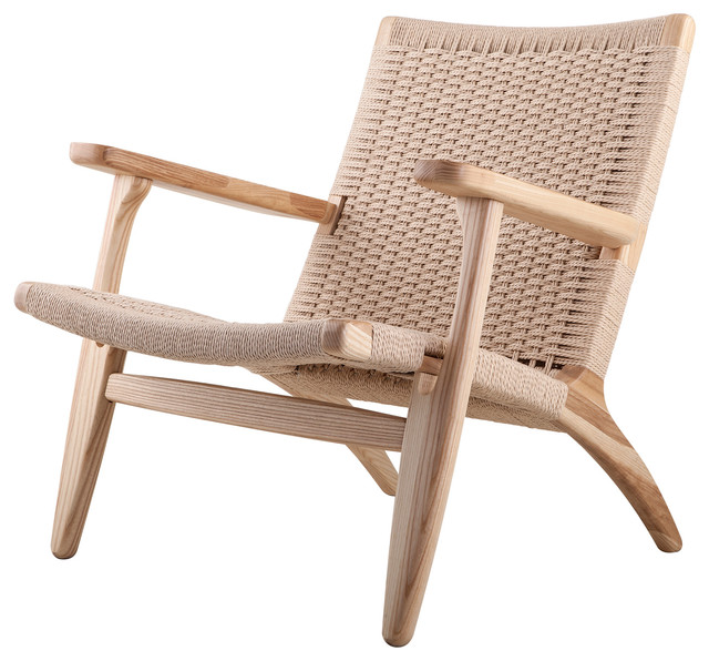 Modern Scandinavian Beech Wood Chair Woven Rope Seat