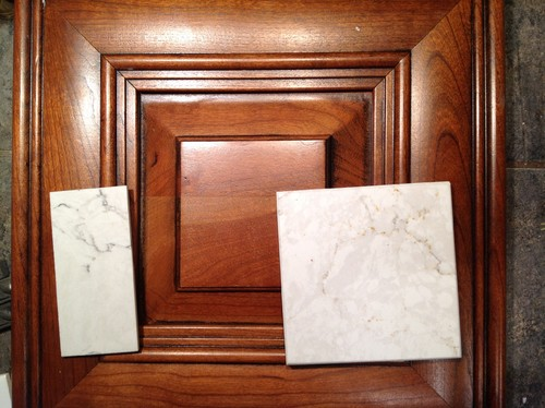 What Countertop With Cherry Cabinets White Arabesque Nuevo
