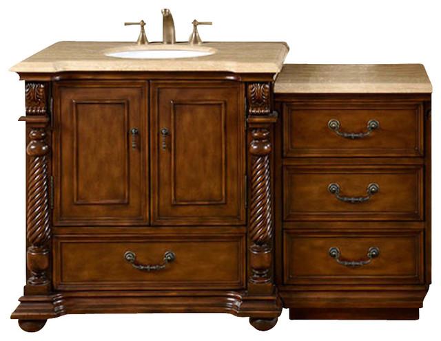 57 Inch Brazilian Rosewood Bathroom Vanity, Single Sink, Travertine, Traditional by Silkroad Exclusive