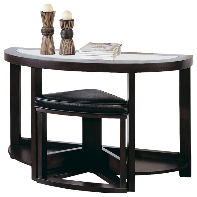 Homelegance brussel half moon sofa table in espresso for 65 sofa table