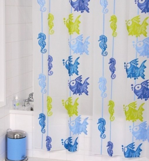 Fish and Sea Horse PEVA Shower Curtain