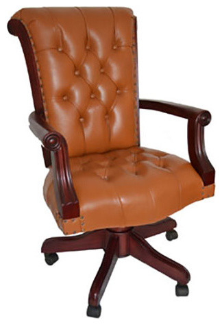 regal tan leather office chair with wood arms - traditional