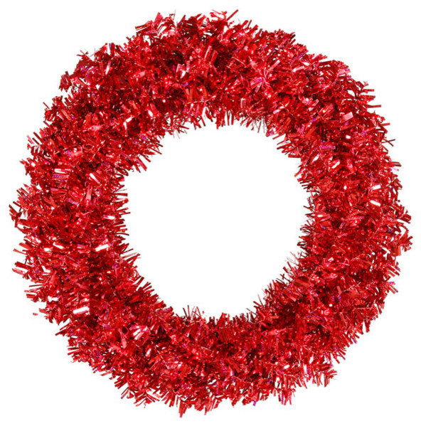 pre lit red hot wide cut tinsel artificial christmas wreath red lights 30 - Christmas Wreaths With Lights