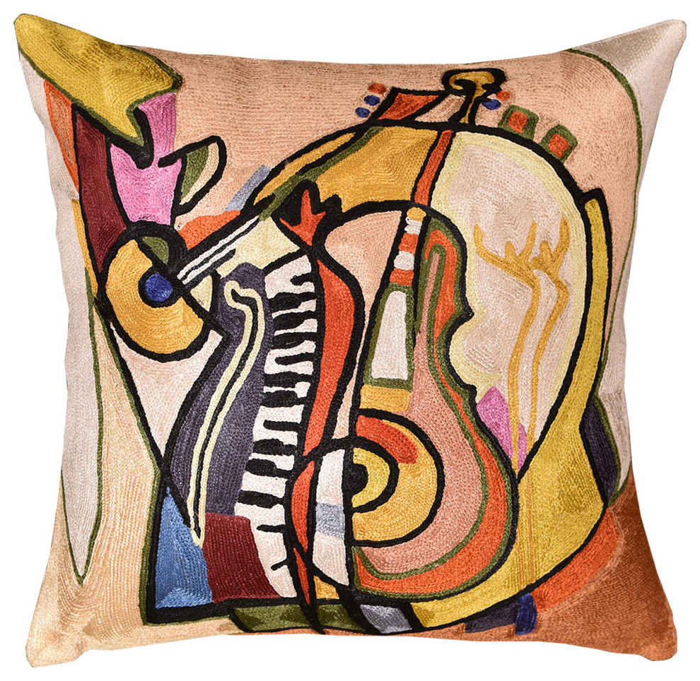Music Is My Life By Alfred Gockel Accent Pillow Cover Handmade Art Silk 18x18 Contemporary Decorative Pillows By Kashmir Fine Arts Crafts