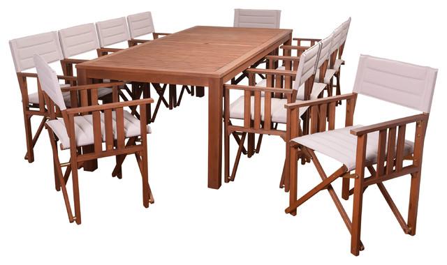 Milano Panama 11-Piece Patio Dining Set, Khaki.