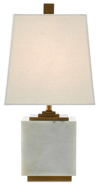 Annelore 1-Light Table Lamps, White And Antique Brass.