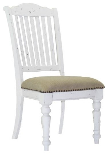 Simpson Vintage White Dining Side Chair With Upholstered Seat Set Of 2