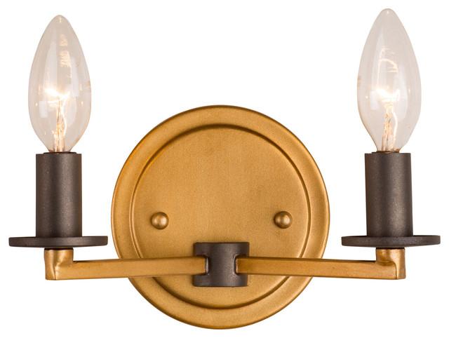 Elwood 2-Light Bathroom Vanity Lights, Antique Gold With Rustic Bronze.