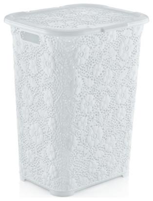 Lace Laundry Hamper, White.