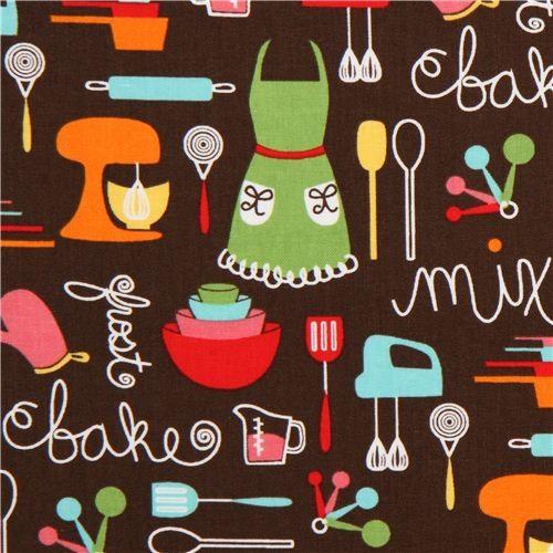 brown apron and kitchen utensils fabric Robert Kaufman - Fabric ...