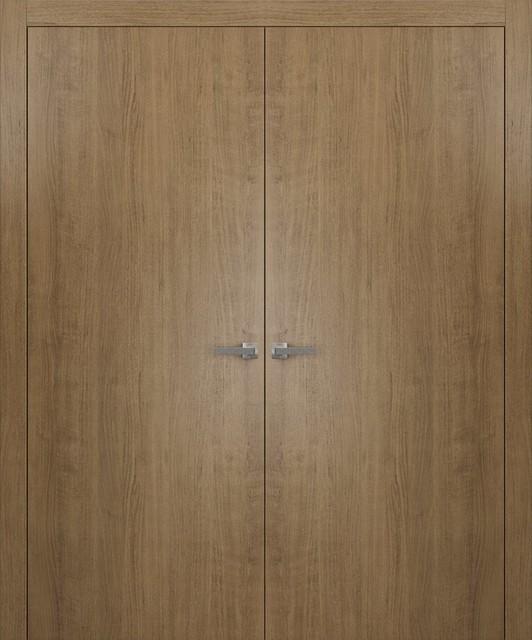 Pre Hung Closet French Double Doors 48 X 80 Planum 0010 Smoky Walnut