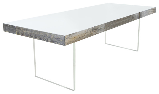 Cody Dining Table With Lucite Legs, Grey