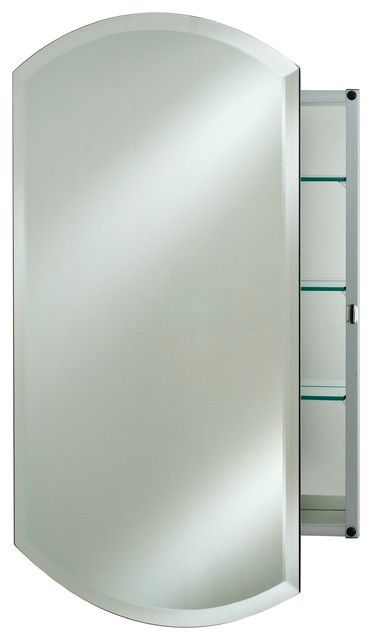 "Double Arch Frameless Bevel Medicine Cabinet, 20""x26""."