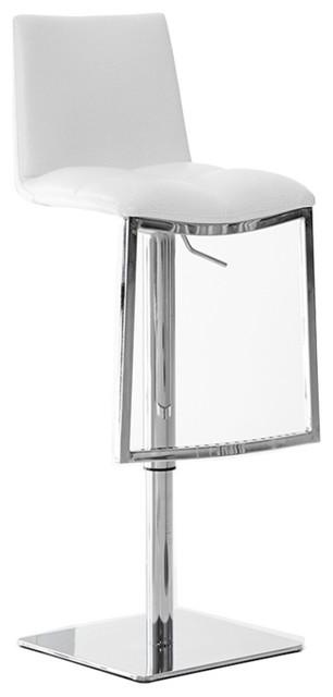 Milano Swivel Hydraulic Barstool, White.