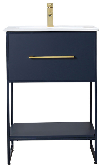 "Legion Furniture 24"" Blue Finish Sink Vanity With Black Metal Frame"