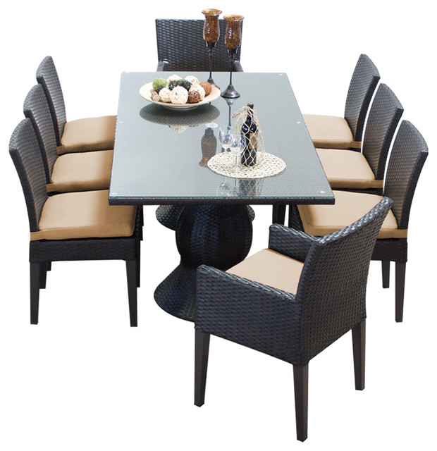 Contemporary Outdoor Dining Sets: Saturn Rectangular Outdoor Patio Dining Table With 8