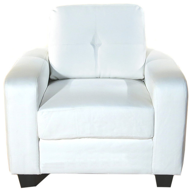 Soft White Bonded Leather Tufted Arm Chair