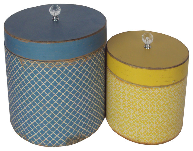 Wooden Round Hat Boxes Set Of 2 Rustic Storage Bins And Boxes