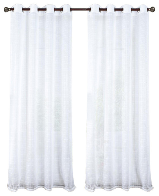 Rt Designers Nile Grommet Window Curtain Panel, White, 54x90&x27;&x27;.