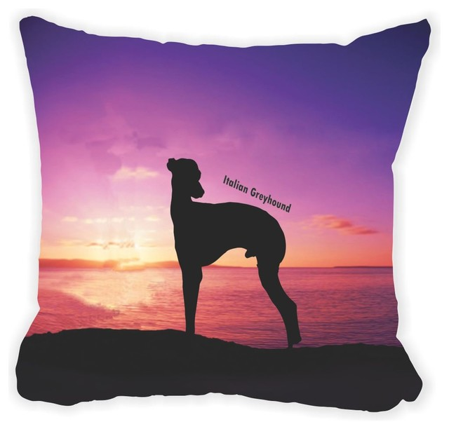 Italian Grayhound Dog At Sunset Microfiber Throw Pillow Adorable Italian Decorative Pillows