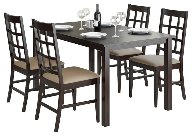 Corliving Atwood 5-Piece Dining Set With Taupe Stone Leatherette Seats.