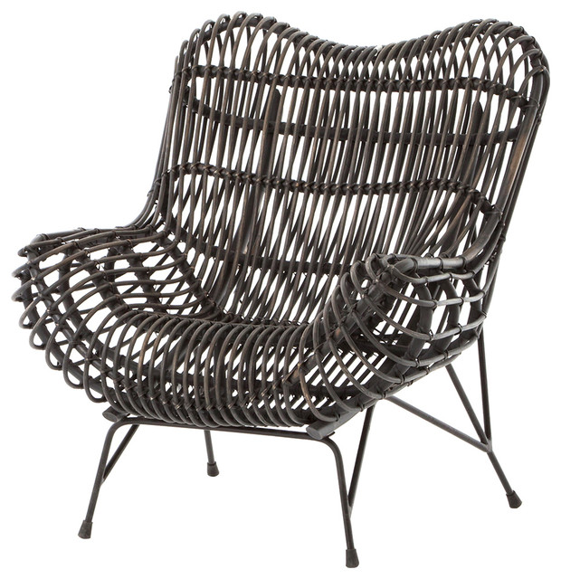 Amazing Cowan Modern Classic Black Metal Wicker Chair Modern Armchairs And Accent  Chairs