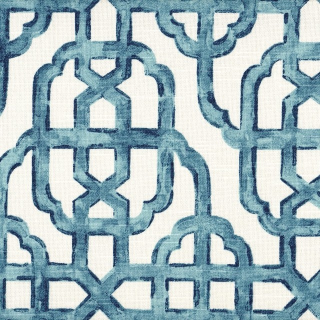 Imperial Seaside Blue Lattice Tailored Valance Lined Cotton.
