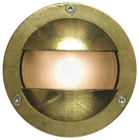 Double Shield Miniature Outdoor Bulkhead Light, Brass, G9 Fitting