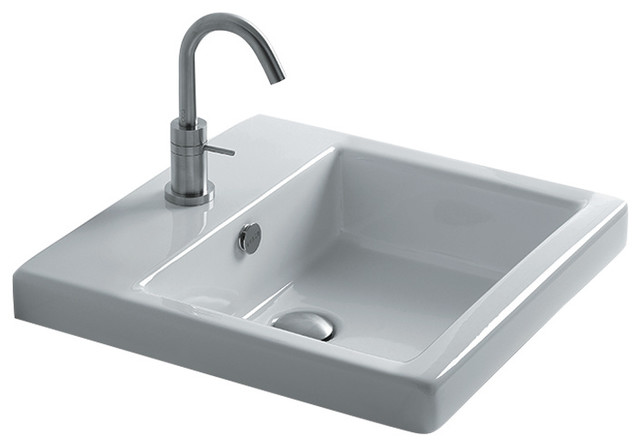 Ws Bath Collections Hox 48 Semi-Recessed Bathroom Sink 18.9x18.9, Three Faucet.