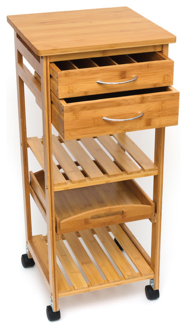 Bamboo Space Saving Trolley Cart With 2 Top Drawers And Pull Out Serving Tray.