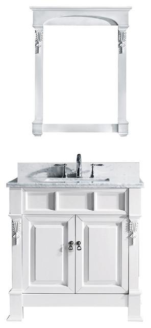 Virtu Huntshire 36 Single Bathroom Vanity, White With Marble Top, With Mirror.