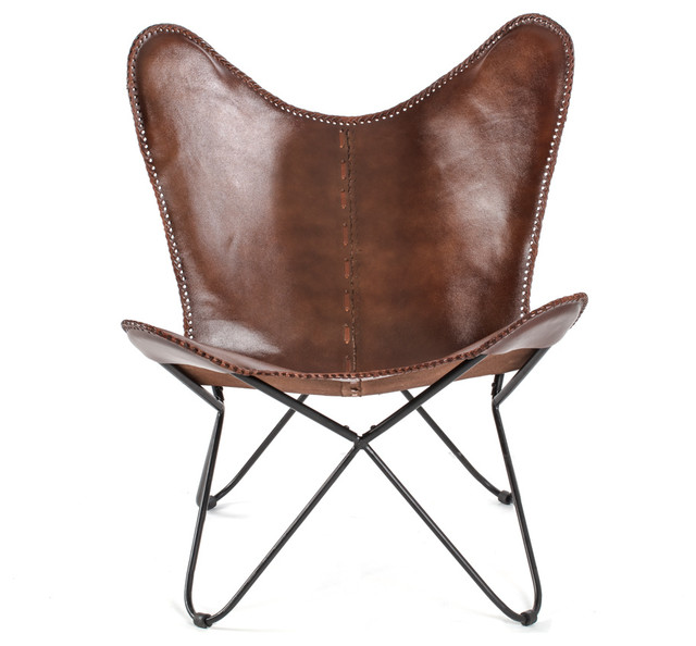 Montreux Iron Butterfly Chair With Leather Seat
