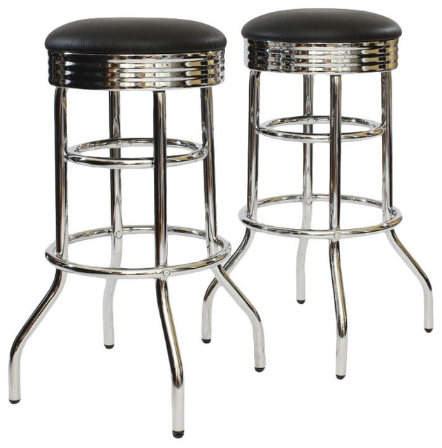 30 Quot Chrome Swivel Barstool Black Unassembled Set Of 2