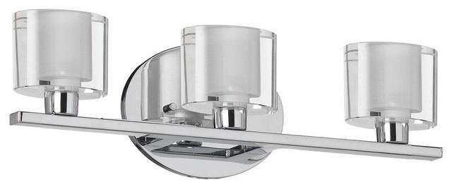 Avalon Polished Chrome Bathroom Vanity Ceiling Lights: Dainolite 3-Light Vanity Fixture, Polished Chrome, Oval