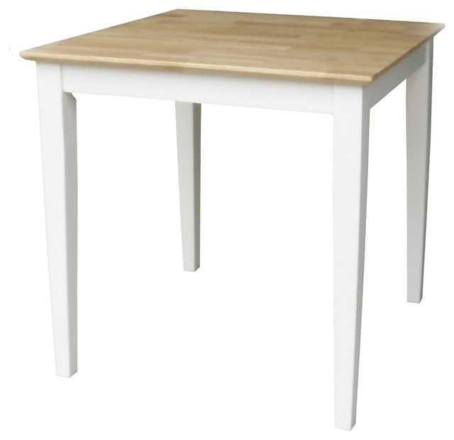 Solid Wood Top Table With Shaker Legs White Natural Transitional Dining Tables