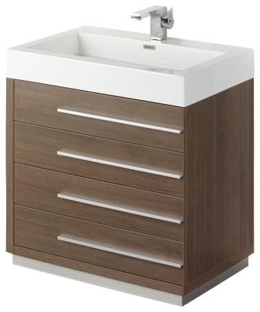 """Livello 30"""" Gray Oak Vanity, Medicine Cabinet - Modern - Bathroom Vanities And Sink Consoles ..."""
