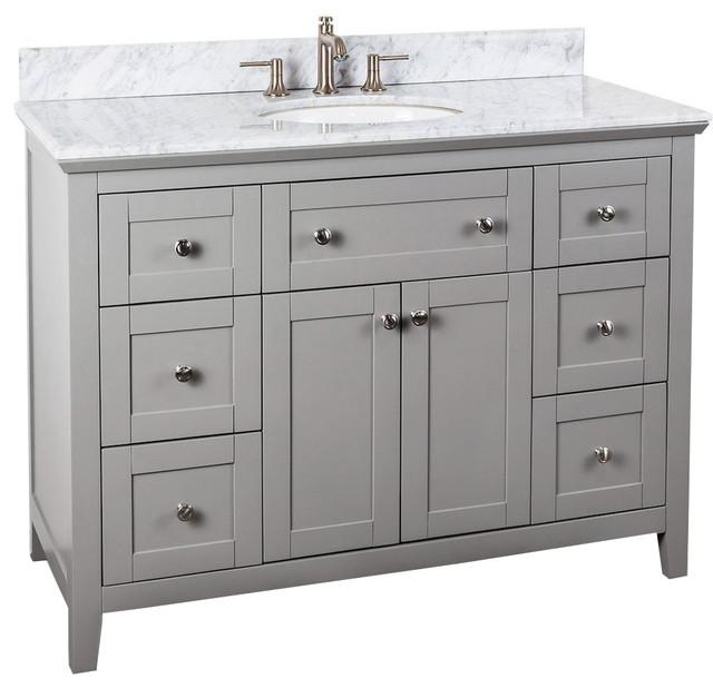Chatham Shaker Jeffrey Alexander 48 Vanity Gray White Marble Countertop