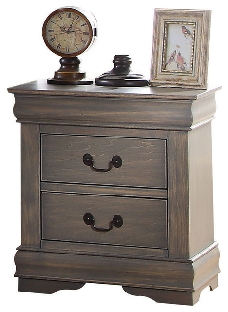 louis philippe nightstand, antique gray - traditional - nightstands Gray Night Stand