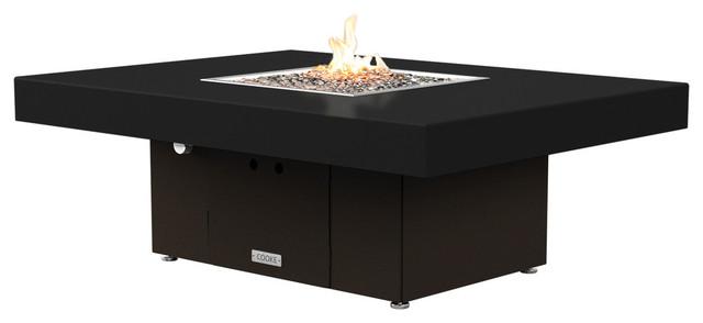 Rectangular Fire Pit Table, 48x36, Propane, Black Top ...