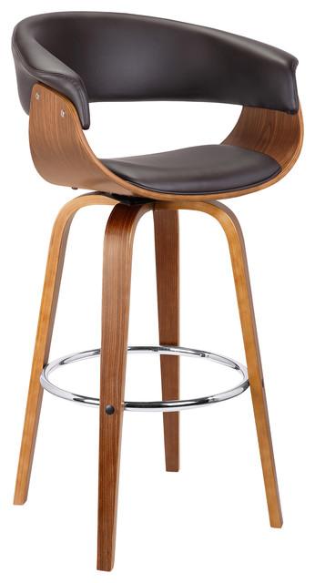 Awe Inspiring Julyssa Midcentury Swivel Counter Stool Brown Faux Leather Walnut Wood 26 Cjindustries Chair Design For Home Cjindustriesco